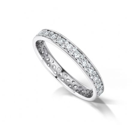 Grain set court eternity/wedding ring, platinum. 2.9mm x 1.5mm. Full coverage